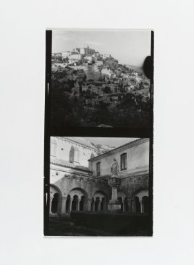 Consuelo Kanaga (American, 1894-1978). [Untitled] (City on a Hill) (top exposure) and [Untitled] (Statue) (bottom exposure). Gelatin silver photograph, Contact Sheet: 5 x 2 1/2 in. (12.7 x 6.4 cm). Brooklyn Museum, Gift of Wallace B. Putnam from the Estate of Consuelo Kanaga, 82.65.179