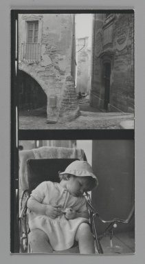 Consuelo Kanaga (American, 1894-1978). [Untitled] (City Alley) (top exposure) and [Untitled] (Child Sleeping) (bottom exposure). Gelatin silver photograph, Contact sheet: 4 3/4 x 2 1/2 in. (12.1 x 6.4 cm). Brooklyn Museum, Gift of Wallace B. Putnam from the Estate of Consuelo Kanaga, 82.65.181