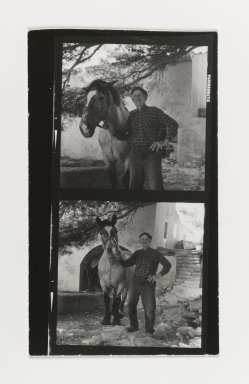 Consuelo Kanaga (American, 1894-1978). [Untitled] (Man with Horse). Gelatin silver photograph, Contact sheet: 5 x 3 in. (12.7 x 7.6 cm). Brooklyn Museum, Gift of Wallace B. Putnam from the Estate of Consuelo Kanaga, 82.65.182