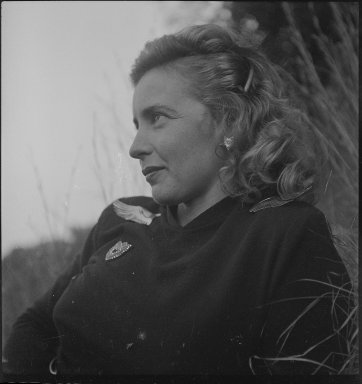 Consuelo Kanaga (American, 1894-1978). Margaret Wise Brown. Cellulose acetate negative, 2 3/8 x 2 3/8 in. (6 x 6 cm). Brooklyn Museum, Gift of Wallace B. Putnam from the Estate of Consuelo Kanaga, 82.65.1832