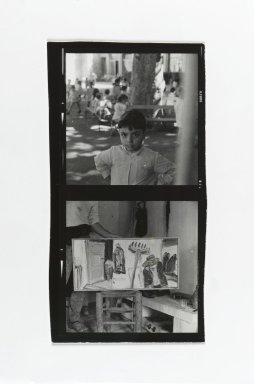 Consuelo Kanaga (American, 1894-1978). [Untitled] (Boy with Benches) (top exposure) and [Untitled] (Painting in Studio) (bottom exposure) . Gelatin silver photograph, contact sheet: 5 x 2 5/8 in. (12.7 x 6.7 cm). Brooklyn Museum, Gift of Wallace B. Putnam from the Estate of Consuelo Kanaga, 82.65.183