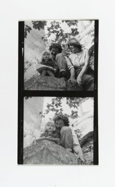 Consuelo Kanaga (American, 1894-1978). [Untitled] (Man and Woman with Child) (top exposure)  [Untitled] (Man with Child) (bottom exposure). Gelatin silver photograph, Contact sheet: 4 1/2 x 2 5/8 in. (11.4 x 6.7 cm). Brooklyn Museum, Gift of Wallace B. Putnam from the Estate of Consuelo Kanaga, 82.65.185