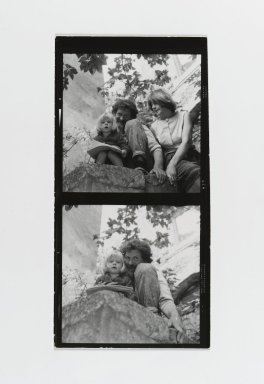 Consuelo Kanaga (American, 1894-1978). [Untitled] (Man and Woman with Child) (top exposure)  [Untitled] (Man with Child) (bottom exposure). Gelatin silver photograph, Contact sheet: 4 5/8 x 2 1/2 in. (11.7 x 6.4 cm). Brooklyn Museum, Gift of Wallace B. Putnam from the Estate of Consuelo Kanaga, 82.65.187
