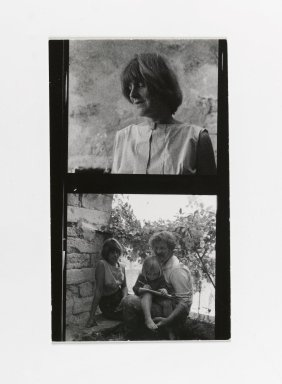Consuelo Kanaga (American, 1894-1978). [Untitled] (Woman) (top exposure)  [Untitled] (Man and Woman with Child Drawing) (bottom exposure). Gelatin silver photograph, Contact Sheet: 4 1/2 x 2 3/4 in. (11.4 x 7 cm). Brooklyn Museum, Gift of Wallace B. Putnam from the Estate of Consuelo Kanaga, 82.65.195