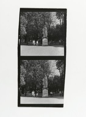 Consuelo Kanaga (American, 1894-1978). [Untitled] (Park Scene with Statue). Gelatin silver photograph, Contact sheet: 4 1/4 x 2 3/4 in. (10.8 x 7 cm). Brooklyn Museum, Gift of Wallace B. Putnam from the Estate of Consuelo Kanaga, 82.65.196