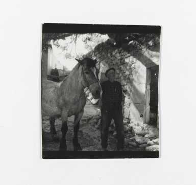 Consuelo Kanaga (American, 1894-1978). [Untitled] (Man with Horse). Gelatin silver photograph, Contact print, 1 exposure: 2 1/4 x 2 1/4 in. (5.7 x 5.7 cm). Brooklyn Museum, Gift of Wallace B. Putnam from the Estate of Consuelo Kanaga, 82.65.201