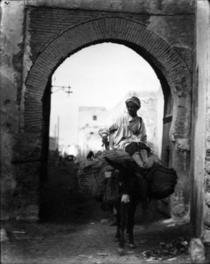 Consuelo Kanaga (American, 1894-1978). [Untitled] (Man on Donkey, North Africa), 1928. Negative, print: 4 5/8 x 3 3/4 in. (11.7 x 9.5 cm). Brooklyn Museum, Gift of Wallace B. Putnam from the Estate of Consuelo Kanaga, 82.65.2133