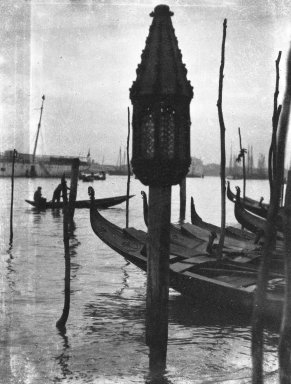 Consuelo Kanaga (American, 1894-1978). [Untitled] (Gondolas, Venice), 1927. Negative, negative: 3 1/8 x 1 1/16 in. (7.9 x 2.7 cm). Brooklyn Museum, Gift of Wallace B. Putnam from the Estate of Consuelo Kanaga, 82.65.2145