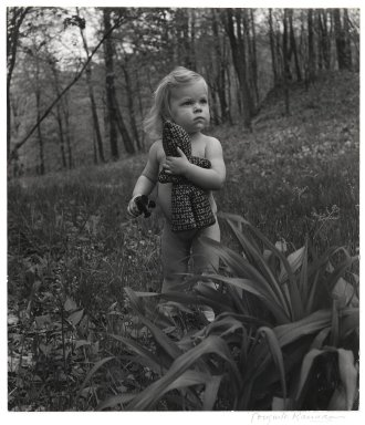 Consuelo Kanaga (American, 1894-1978). [Untitled] (Little Girl with Doll in Woods). Gelatin silver photograph, 10 3/8 x 9 1/8 in. (26.4 x 23.2 cm). Brooklyn Museum, Gift of Wallace B. Putnam from the Estate of Consuelo Kanaga, 82.65.2227