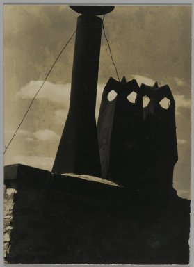 Consuelo Kanaga (American, 1894-1978). [Untitled] (Chimneys). Gelatin silver photograph, Flush mounted on card: 4 1/8 x 3 in. (10.5 x 7.6 cm). Brooklyn Museum, Gift of Wallace B. Putnam from the Estate of Consuelo Kanaga, 82.65.233