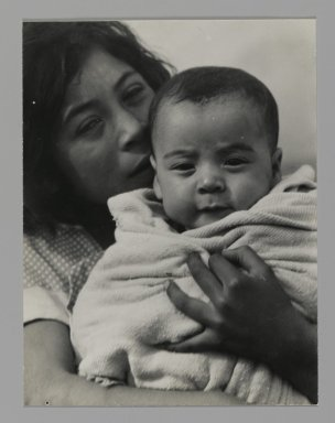Consuelo Kanaga (American, 1894-1978). [Untitled] (Mother and Child). Gelatin silver photograph, 4 1/8 x 3 1/8 in. (10.5 x 7.9 cm). Brooklyn Museum, Gift of Wallace B. Putnam from the Estate of Consuelo Kanaga, 82.65.237