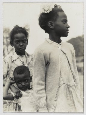 Consuelo Kanaga (American, 1894-1978). [Untitled] (Three Children), 1949-1950. Gelatin silver photograph, 7 5/8 x 9 1/2 in. (19.4 x 24.1 cm). Brooklyn Museum, Gift of Wallace B. Putnam from the Estate of Consuelo Kanaga, 82.65.238