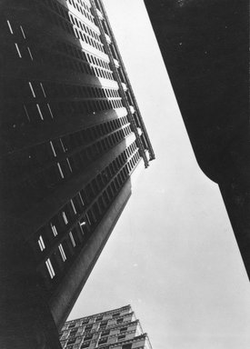 Consuelo Kanaga (American, 1894-1978). [Untitled] (Architectural Abstraction, New York), 1930s or 1940s. Gelatin silver photograph, Image: 4 x 2 3/4 in. (10.2 x 7 cm). Brooklyn Museum, Gift of Wallace B. Putnam from the Estate of Consuelo Kanaga, 82.65.244