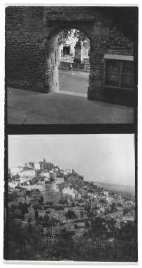 Consuelo Kanaga (American, 1894-1978). [Untitled] (Upper Exposure - Fountain) and (Lower Exposure - City on a Hill). Gelatin silver photograph, 4 3/8 x 2 3/8 in. (11.1 x 6 cm). Brooklyn Museum, Gift of Wallace B. Putnam from the Estate of Consuelo Kanaga, 82.65.2655