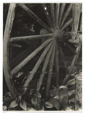 Consuelo Kanaga (American, 1894-1978). [Untitled] (Carriage Wheel). Gelatin silver photograph, 3 7/8 x 2 7/8 in. (9.8 x 7.3 cm). Brooklyn Museum, Gift of Wallace B. Putnam from the Estate of Consuelo Kanaga, 82.65.276