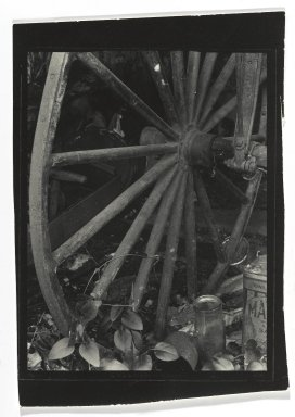 Consuelo Kanaga (American, 1894-1978). [Untitled] (Carriage Wheel). Gelatin silver photograph, 4 3/4 x 3 3/8 in. (12.1 x 8.6 cm). Brooklyn Museum, Gift of Wallace B. Putnam from the Estate of Consuelo Kanaga, 82.65.277