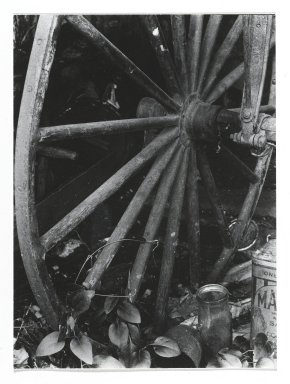 Consuelo Kanaga (American, 1894-1978). [Untitled] (Cariage Wheel). Gelatin silver photograph, Other: 4 x 2 7/8 in. (10.2 x 7.3 cm). Brooklyn Museum, Gift of Wallace B. Putnam from the Estate of Consuelo Kanaga, 82.65.278