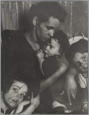 Consuelo Kanaga (American, 1894-1978). [Untitled] (Woman with Three Children). Gelatin silver photograph, 12 1/2 x 9 7/8 in. (31.8 x 25.1 cm). Brooklyn Museum, Gift of Wallace B. Putnam from the Estate of Consuelo Kanaga, 82.65.309