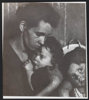 Consuelo Kanaga (American, 1894-1978). [Untitled] (Woman with Two Children). Gelatin silver photograph, 8 3/4 x 7 3/4 in. (22.2 x 19.7 cm). Brooklyn Museum, Gift of Wallace B. Putnam from the Estate of Consuelo Kanaga, 82.65.310