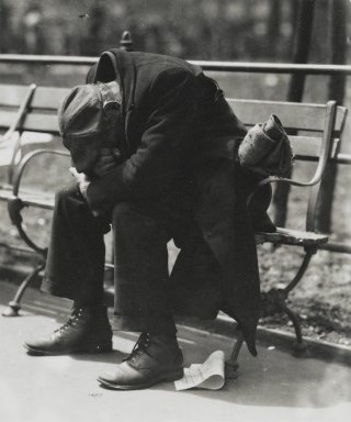 Brooklyn Museum: [Untitled] (Man on Park Bench)