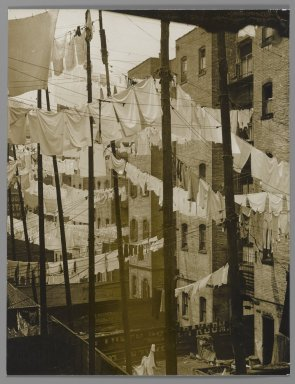 Consuelo Kanaga (American, 1894-1978). [Untitled] (Tenements, New York), mid-late 1930s. Toned gelatin silver photograph, 9 1/2 x 7 1/4 in. (24.1 x 18.4 cm). Brooklyn Museum, Gift of Wallace B. Putnam from the Estate of Consuelo Kanaga, 82.65.38