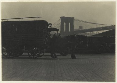 Consuelo Kanaga (American, 1894-1978). [Untitled] (Horse Drawn Wagon), 1922-1924. Gelatin silver photograph, Image: 2 5/8 x 3 7/8 in. (6.7 x 9.8 cm). Brooklyn Museum, Gift of Wallace B. Putnam from the Estate of Consuelo Kanaga, 82.65.401