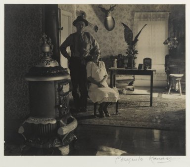 Consuelo Kanaga (American, 1894-1978). Mr. and Mrs. Stanley, The Adirondacks (The Front Parlor), 1936. Toned gelatin silver photograph with graphite, 7 1/4 x 8 5/8 in. (18.4 x 21.9 cm). Brooklyn Museum, Gift of Wallace B. Putnam from the Estate of Consuelo Kanaga, 82.65.406