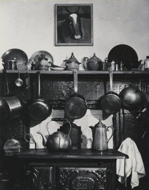 Consuelo Kanaga (American, 1894-1978). Cornelia Street Kitchen, 1944. Toned gelatin silver photograph, Image: 4 3/4 x 3 3/4 in. (12.1 x 9.5 cm). Brooklyn Museum, Gift of Wallace B. Putnam from the Estate of Consuelo Kanaga, 82.65.412