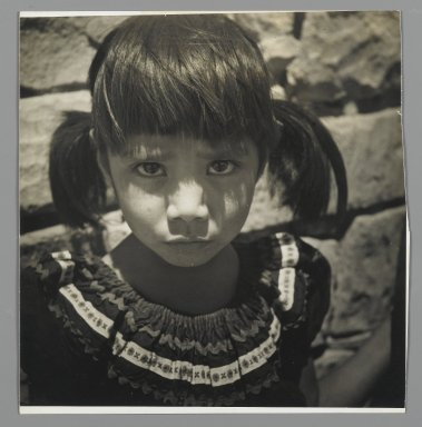 Consuelo Kanaga (American, 1894-1978). [Untitled] (Portrait of a Girl). Gelatin silver photograph, 9 1/4 x 7 3/8 in. (23.5 x 18.7 cm). Brooklyn Museum, Gift of Wallace B. Putnam from the Estate of Consuelo Kanaga, 82.65.441