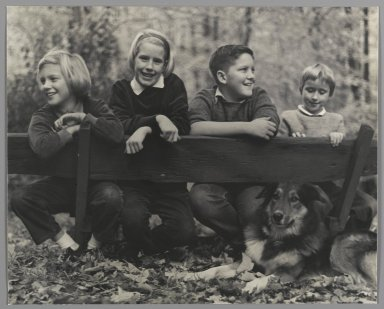 Consuelo Kanaga (American, 1894-1978). [Untitled] (Children with Dog). Gelatin silver photograph, 8 x 9 7/8 in. (20.3 x 25.1 cm). Brooklyn Museum, Gift of Wallace B. Putnam from the Estate of Consuelo Kanaga, 82.65.47