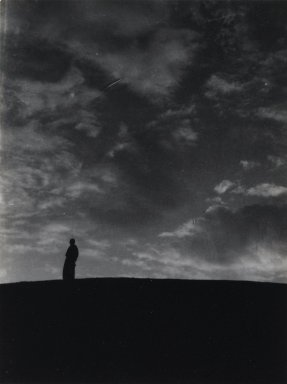 Consuelo Kanaga (American, 1894-1978). [Untitled] (Man on Horizon, North Africa), 1928. Gelatin silver photograph, Image: 5 1/8 x 3 7/8 in. (13 x 9.8 cm). Brooklyn Museum, Gift of Wallace B. Putnam from the Estate of Consuelo Kanaga, 82.65.81