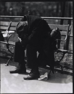 Consuelo Kanaga (American, 1894-1978). [Untitled] (Man on Bench, New York), 1920s. Toned gelatin silver photograph, Sheet: 4 7/8 x 3 7/8 in. (12.4 x 9.8 cm). Brooklyn Museum, Gift of Wallace B. Putnam from the Estate of Consuelo Kanaga, 82.65.911.2