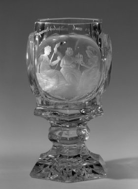 Stemmed Goblet, ca. 1850. Glass, 5 11/16 x 2 7/8 in. (14.4 x 7.3 cm). Brooklyn Museum, Gift of Phyllis Newman Milstein, 82.69.1. Creative Commons-BY