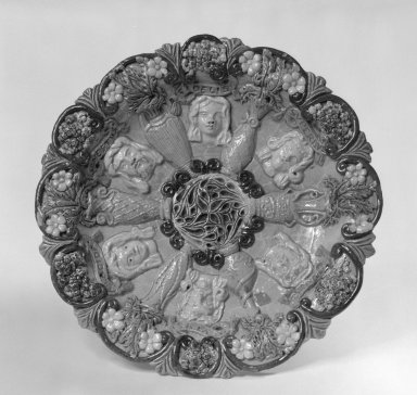 Edward Bingham (English, 1829-early 20th century). Dish, 1870-1885. Lead-glazed earthenware, 1 3/4 x 9 1/2 in. (4.4 x 24.1 cm). Brooklyn Museum, Gift of Phyllis Newman Milstein, 82.69.2. Creative Commons-BY