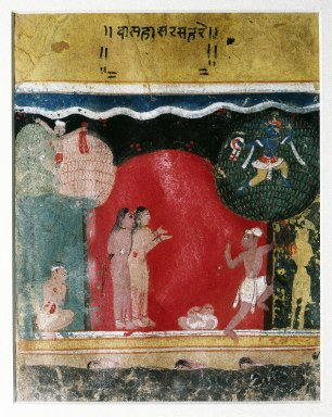 Indian. Krishna Steals the Gopis' Clothes, Page from a Dated Rasikapriya Series, 1634. Opaque watercolors on paper, sheet: 7 3/4 x 6 1/8 in.  (19.7 x 15.6 cm). Brooklyn Museum, Gift of Nancy Anderson in honor of Dr. Bertram H. Schaffner, 82.73.1