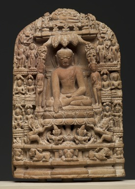 Plaque Depicting Episodes from the Life of Shakyamuni Buddha, 12th century. Pyrophyllite, 5 3/4 x 3 3/4 in. (14.6 x 9.5 cm). Brooklyn Museum, Gift of The Roebling Society, 82.78. Creative Commons-BY