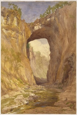 John Henry Hill (American, 1839-1922). Natural Bridge, Virginia, 1876. Watercolor over graphite on cream, very thick, slightly textured wove paper mounted to a secondary paper., 21 1/4 x 14 1/8 in. (54 x 35.9 cm). Brooklyn Museum, Gift of Mr. and Mrs. Leonard L. Milberg, 82.85.2
