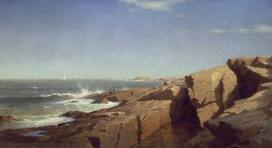 William Stanley Haseltine (American, 1835-1900). Rocks at Nahant, 1864. Oil on canvas, 22 1/16 x 40 1/8 in. (56 x 101.9 cm). Brooklyn Museum, Dick S. Ramsay Fund and A. Augustus Healy Fund, 82.86