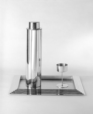 Norman Bel Geddes (American, 1893-1958). Cocktail Glass, One of Eight, 1937. Chrome-plated metal, 4 5/16 x 2 1/2 x 2 1/2 in. (11 x 6.4 x 6.4 cm). Brooklyn Museum, Gift of Paul F. Walter, 83.108.10. Creative Commons-BY