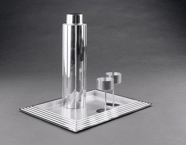 Norman Bel Geddes (American, 1893-1958). Cocktail Glass, One of Eight, 1937. Chrome-plated metal, 4 5/16 x 2 1/2 x 2 1/2 in. (11 x 6.4 x 6.4 cm). Brooklyn Museum, Gift of Paul F. Walter, 83.108.8. Creative Commons-BY