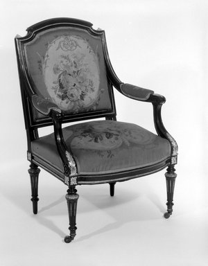 Leon Alexandre Marcott. Armchair (Louis XVI Revival style), 1869. Ebonized blue beech, gilt bronze, original Aubusson tapestry upholstery (wool, linen warp), 38 3/8 x 25 1/8 x 22 1/8 in. (97.5 x 63.8 x 56.2 cm). Brooklyn Museum, H. Randolph Lever Fund