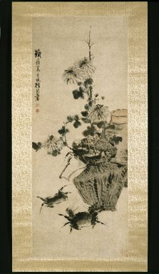 Gao Qipei (Chinese, 1672-1734). Crabs and Chrysanthemums, 18th century. Ink and light color on paper, 39 3/4 x 15 3/4 in. (101 x 40 cm). Brooklyn Museum, Gift of Dolly Carter in memory of her husband, Chester Dale Carter, 83.111.3