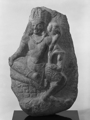 Seated Avalokitesvara (Bodhisattva Padmapani), 7th-8th century. Limestone, 30 11/16 x 20 1/2 in. (78 x 52 cm). Brooklyn Museum, Gift of Amy and Robert L. Poster, 83.116. Creative Commons-BY