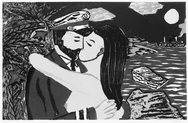 Richard Bosman (American, born India, 1944). South Sea Kiss, 1981. Woodcut in colors on paper, Image: 15 1/8 x 23 7/16 in. (38.4 x 59.6 cm). Brooklyn Museum, Gift of Alex Katz, 83.131.2. © Richard Bosman