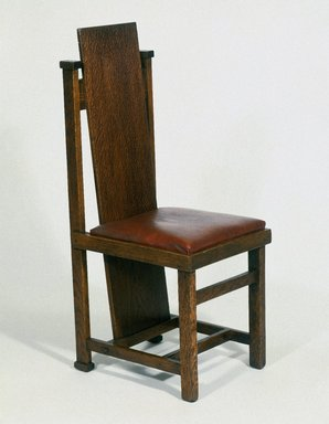 Frank Lloyd Wright (American, 1867-1959). Side Chair, 1904. Oak, upholstery, 40 1/8 x 14 3/4 x 18 1/2in. (101.9 x 37.5 x 47cm). Brooklyn Museum, Designated Purchase Fund, 83.157a-b. Creative Commons-BY
