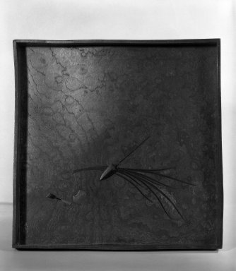 Shibata Zeshin (Japanese, 1807-1891). Tray, 19th century. Burlwood with black lacquer, 1 1/8 x 9 5/8 x 9 5/8 in. (2.9 x 24.4 x 24.4 cm). Brooklyn Museum, Gift of Laura Bellino, 83.162. Creative Commons-BY