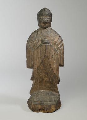 Enku (Japanese, 1628-1695). Yakushi (Bhaishajaguru, The Buddha of Healing), 17th century. Wood, 17 x 6 1/2 in. (43.2 x 16.5 cm). Brooklyn Museum, Gift of Allen Hubbard and Susan Dickes Hubbard, 83.167. Creative Commons-BY