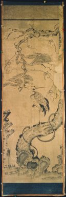 Crane and Pine, late 19th-early 20th century. Ink and light color on paper, Overall: 51 3/8 x 16 15/16 in. (130.5 x 43 cm). Brooklyn Museum, Gift of Dr. and Mrs. John P. Lyden, 83.168.10