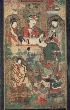 Ten Kings of the Underworld, 19th century. Ink and color on silk, 28 3/8 x 15 3/8 in. (72 x 39 cm). Brooklyn Museum, Gift of Dr. and Mrs. John P. Lyden, 83.168.5
