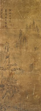 Landscape, 19th century. Ink and light color on paper, 39 x 18 3/4in. (99.1 x 47.6cm). Brooklyn Museum, Gift of Dr. and Mrs. John P. Lyden, 83.168.9